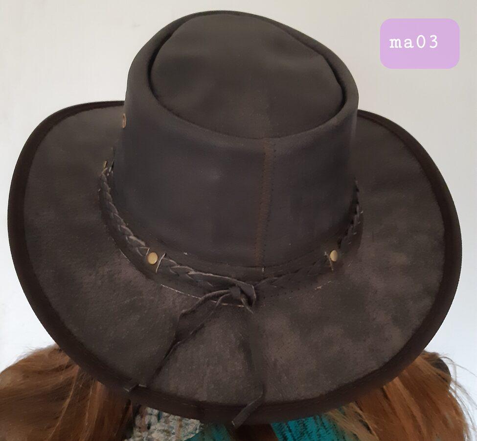 Lederhut mit geflochtenem Hutband, braun