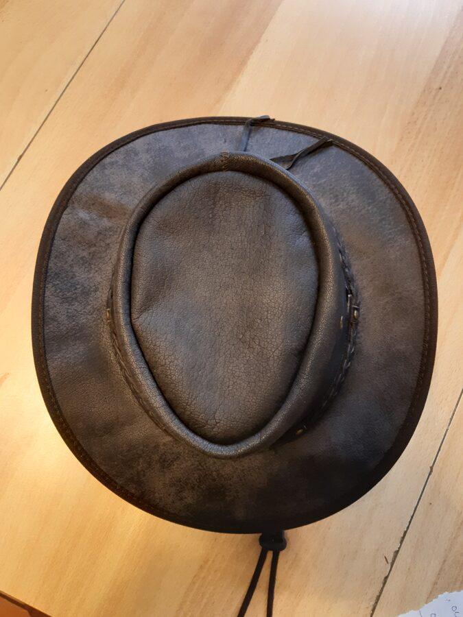 Knautsch-Lederhut, geflocht. Hutband, Spezial, dunkelbraun