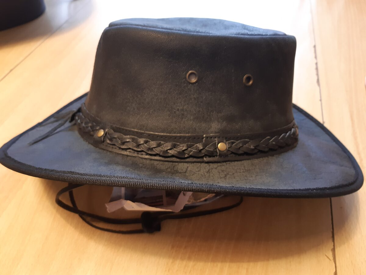 Knautsch-Lederhut, geflocht. Hutband, Spezial, schwarz