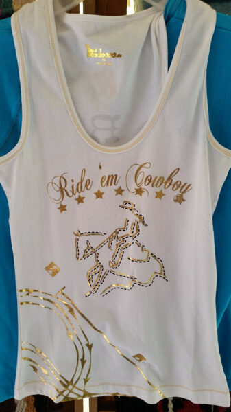 Cowgirl Tanktop, Western Top, Stretch, weiss mit Goldschrift