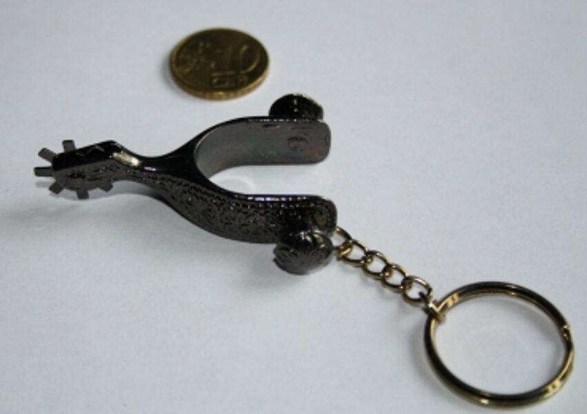 Schlüsselanhänger- Mini-Sporen - gold, schwarz