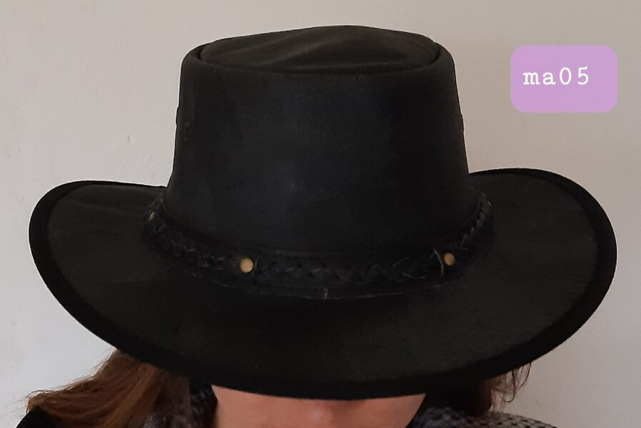 Lederhut mit geflochtenem Hutband, schwarz