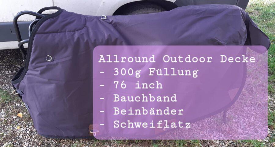 """Outdoor/Winter/Regendecke in """"Big D"""" Schnitt, QH Schnitt."""
